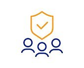 Security agency line icon. Body guard sign. Vector