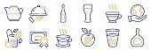 Set of Food and drink icons, such as Ice tea, Medical food, Milk jug. Vector
