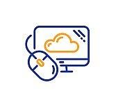Cloud computing line icon. Internet data storage sign. Vector
