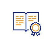 Certificate line icon. Certified document sign. Vector