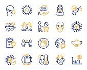 Coronavirus line icons. Medical mask, washing hands, protective glasses. Covid-19 pandemic. Vector