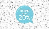 Save up to 20 percent. Discount Sale offer price sign. Vector