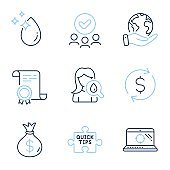 Quick tips, Money bag and Dollar exchange icons set. Water drop, Seo laptop and Moisturizing cream signs. Vector