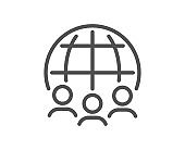 Global business line icon. International outsourcing group sign. Vector