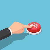 Isometric businessman hand push new normal button