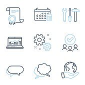 Spanner tool, Work and Speech bubble icons set. Messenger, Web analytics and Calendar signs. Vector
