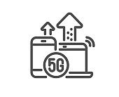 5g internet line icon. Wireless technology sign. Vector