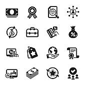 Set of Finance icons, such as Money exchange, Loyalty tags, Portfolio. Vector