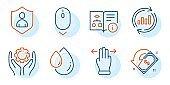 Cashback, Multitasking gesture and Technical algorithm icons set. Vector