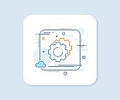 Settings gears line icon. Cogwheel sign. Working process. Vector