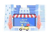 Flat 3d Isometric Online Food Ordering System on Computer Monitor Screen with Motocycle