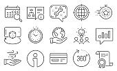 Set of Technology icons, such as Augmented reality, Credit card, Search calendar. Vector