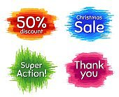 Super action, 50% discount and christmas sale. Thank you phrase. Vector