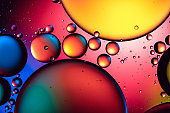 Abstract colourful bubbles in water
