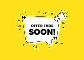 Offer ends soon. Special offer price sign. Vector