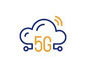 5g cloud computing line icon. Wireless technology sign. Vector