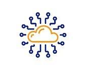 Cloud computing network line icon. Internet data storage sign. Vector