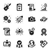 Set of Education icons, such as Time management, Photo camera, Bitcoin graph. Vector