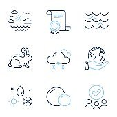 Travel sea, Snow weather and Peas icons set. Weather, Animal tested and Waves signs. Vector