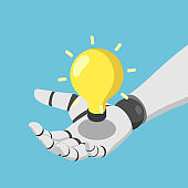 Isometric Ai artificial intelligence robot hand holding shining lightbulb