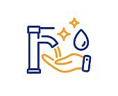 Washing hands line icon. Sanitary cleaning sign. Vector