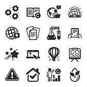 Set of Business icons, such as Vision board, World medicine, Organic product symbols. Vector