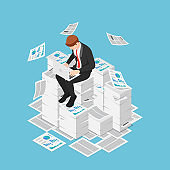 Isometric businessman working with laptop on the piles of papers and documents