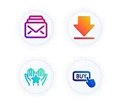Ranking, Downloading and Mail icons set. Buy button sign. Hold star, Load information, New messages. Vector