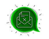 Reject letter line icon. Delete mail sign. Vector