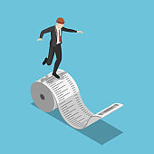 Isometric businessman balancing on the roll of receipt