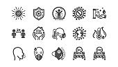 Coronavirus icons set. Medical protective mask, washing hands hygiene, eu shut borders. Covid-19 pandemic. Vector