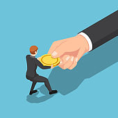 Isometric businessman fight over and pull golden coin from big business hand
