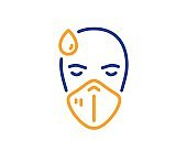 Sick man with medical mask line icon. Safety respiratory mask sign. Vector