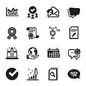 Set of Education icons, such as Edit document, Speech bubble, Calendar. Vector