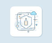Whiskey bottle line icon. Scotch alcohol sign. Vector