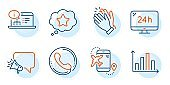 Clapping hands, Loyalty star and Online documentation icons set. Vector