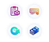Update time, Parcel checklist and Computer keyboard icons set. Usd currency sign. Vector