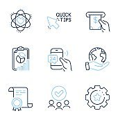 Atom, Quick tips and 24h service icons set. Report, Atm service and Settings gear signs. Vector