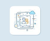 Group line icon. Users or Teamwork sign. Vector