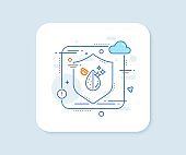 Dirty water drop line icon. Clean filter aqua sign. Vector