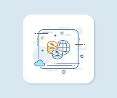 World money line icon. Global markets sign. Vector
