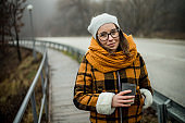 A winter day in nature with a cup of coffee