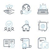 Technical info, Cogwheel and Home icons set. Consolidation, Typewriter and Strategy signs. Vector