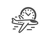 Flight time icon. Airplane with clock sign. Vector