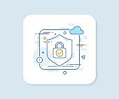 Security lock line icon. Cyber defence sign. Vector