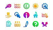 Waves, Whistle and Global warming icons. Signature, Analytics and Question. Classic icon set. Vector