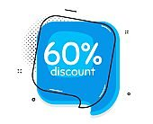 60% Discount. Sale offer price sign. Vector