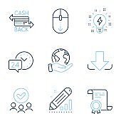 Scroll down, 24h service and Edit statistics icons set. Cashback card, Download and Inspiration signs. Vector