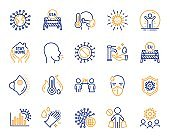 Coronavirus line icons. Medical protective mask, washing hands hygiene, eu shut borders. Covid-19 pandemic. Vector