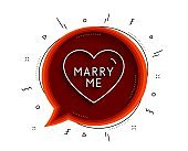 Marry me line icon. Sweet heart sign. Wedding love. Vector